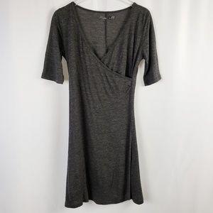 Prana Gray Wrap V-Neck Dress, Medium